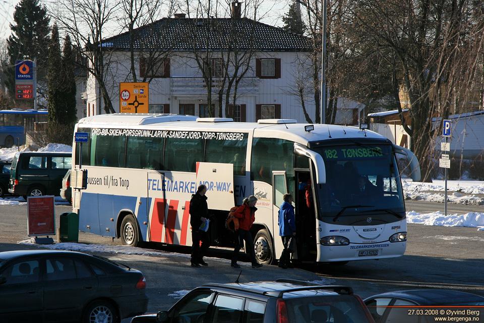 buss fra skien til torp